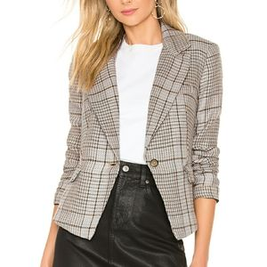 Free People Linen Chess Blazer, Plaid, Size Small